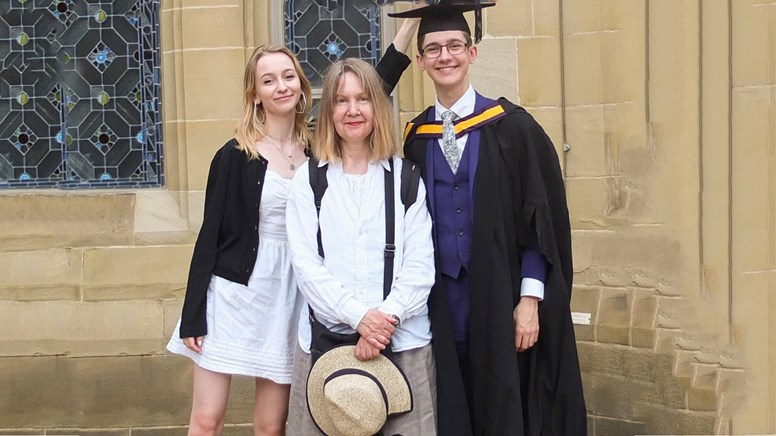 undefinedDominic with his mother and sister graduating in 2018 from Manchester University
